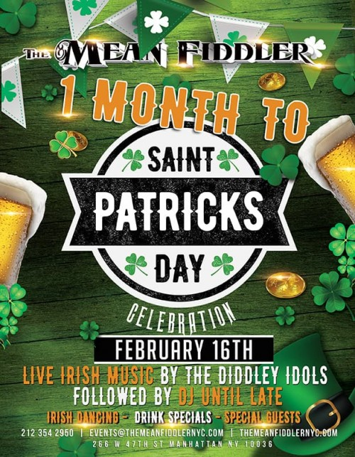 2158b3eedf2b2b5967e068ca3190266a_w500 1 Month to St Patrick Day Celebration  - The Mean Fiddler